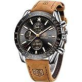 BENYAR moda uomo al quarzo cronografo impermeabile orologi business casual sport design Leather cinturino da polso orologio