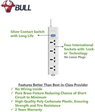 Bull 4 Socket,1 Switch,5 M Wire Extension Board,White
