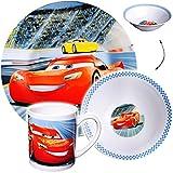alles-meine GmbH 3 tlg. Geschirrset -  Disney Cars / Lightning McQueen - Auto  - Porzellan / ..