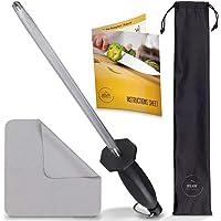 Set affilacoltelli in acciaio per affilare coltelli da 33 cm  panno per la pulizia e borsa per il trasporto di lusso  per cucina  macellaio  coltelli da chef