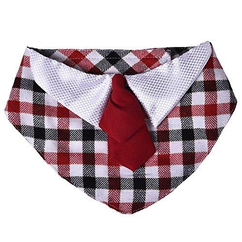 Zrong Haustier-Welpen-Kätzchen Hund Katze Einstellbare Checks Tie Kragen Krawatte Kleidung Check-krawatte Tie
