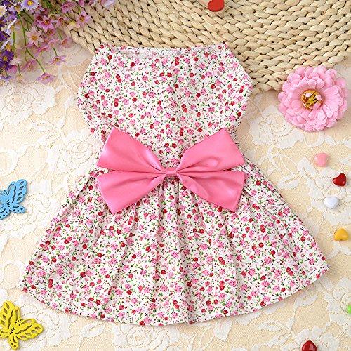 Petticoat Tutu-stil (Lager Show 1pc Fashion Spring Summer Pastoral Stil Pet Floral Rock Kleid mit Bowknot Dekor, Prinzessin Weste Tutu Kleid für Welpen/Katzen/Kitty, Pink, XL, Rose)