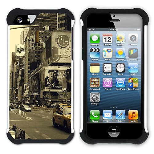 Graphic4You Brooklyn Bridge New York Postkarte Ansichtskarte Design Hart + Weiche Kratzfeste Hülle Case Schale Tasche Schutzhülle für Apple iPhone SE / 5 / 5S Design #9