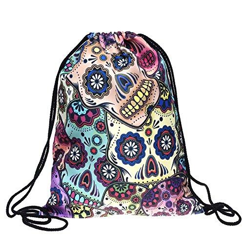 Koreyoo Skeleton Muster Süßigkeiten Tasche 3D Digital Gedruckt String Bag Rucksack Gym Bag / Stringbag Drawstring Rucksack / Tasche String (Für Sachen Halloween)