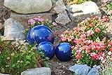 Kunert-Keramik Kugel,Rosenkugel,Gartenkugel,in tollem Blau,frostfest;(17cm)