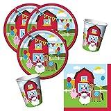 Unbekannt 32-teiliges Party-Set Farmhouse Fun - Bauernhof - Tiere - Pferd, Kuh, Schaf, Schwein, Teller Becher Servietten für 8 Kinder …