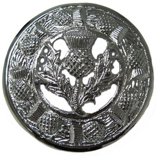 Tartanista - Herren Brosche für Fly Plaids - schottisch, irisch oder keltisch - Distel - Silberfarben