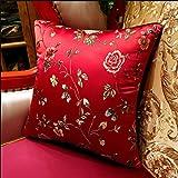 YIRED Chinesische Büro-Kissen, Sofakissen, großes Blumen-Vogel-Kissen, rotes Hochzeits-Kissen 45CM * 45CM (Farbe : Rot, größe : 45CM*45CM)