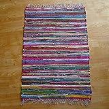 The Indian Arts FAIR Trade FLICKENTEPPICH VON Hand GEWEBT, 100% RECYCELTE Baumwolle, Mehrfarbig, Textil, Multi, 100x164