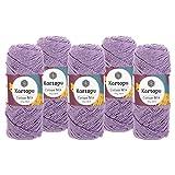 maDDma  5 x 100g Strickgarn Kartopu Cotton Mix Strickwolle Häkelgarn Sommergarn Farbwahl, Farbe:2139S Flieder