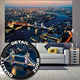 Fototapete Tower Bridge bei Sonnenuntergang Wandbild Dekoration London Skyline Großbritannien UK Sunset Themse Great Britain United Kingdom | Wandtapete Fotoposter Wanddeko by GREAT ART (210x140 cm)