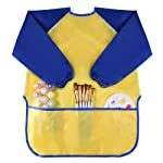 Kuuqa Childrens Kids Toddler Waterproof Play Apron Art Smock with 3 Roomy Pockets - Painting