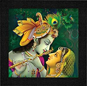 SAF Synthetic Religious Framed Painting, Multicolour, Radha Krishna, Standard.
