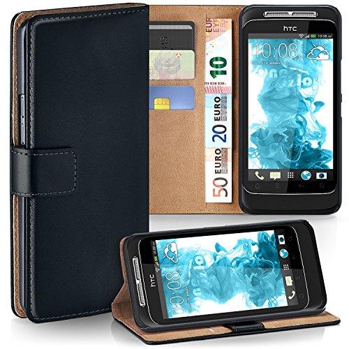 OneFlow Tasche für HTC Wildfire S Hülle Cover mit Kartenfächern | Flip Case Etui Handyhülle zum Aufklappen | Handytasche Schutzhülle Zubehör Handy Schutz Bumper in Schwarz