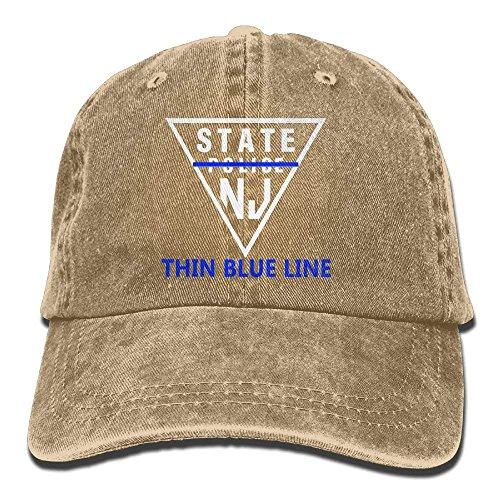 ferfgrg New Jersey State Police Thin Blue Line Denim Hat Women Snapback Baseball Cap HI718 -