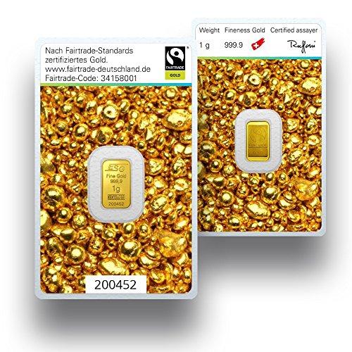 Goldbarren 1 Gramm - Fairtrade Gold - Goldgeschenk - 999.9 Feingold (1 Gramm Silberbarren)