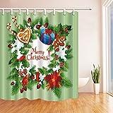GoHEBE Weihnachten, Adventskranz, Weihnachten, Weihnachtsbaum, Stechpalme mit Kinder-Duschvorhang, wasserdicht, Polyester, für Badezimmer 180x 160cm, mit Haken im Lieferumfang enthalten