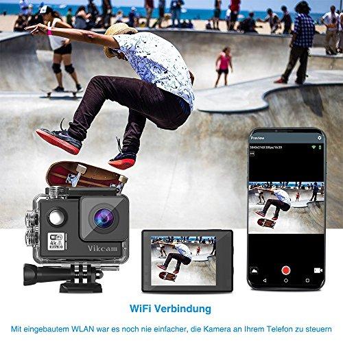 Vikcam Real 4K/30fps Cámara de acción WiFi HD Action Cam 16MP con estabilización de imagen 170 grados de gran angular 2 baterías mejoradas y kit de accesorios de montaje