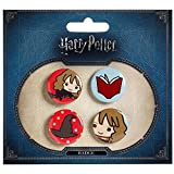 Harry Potter Button 4er Set Chibi Hermine Buch Sprechender Hut Ø2,5cm