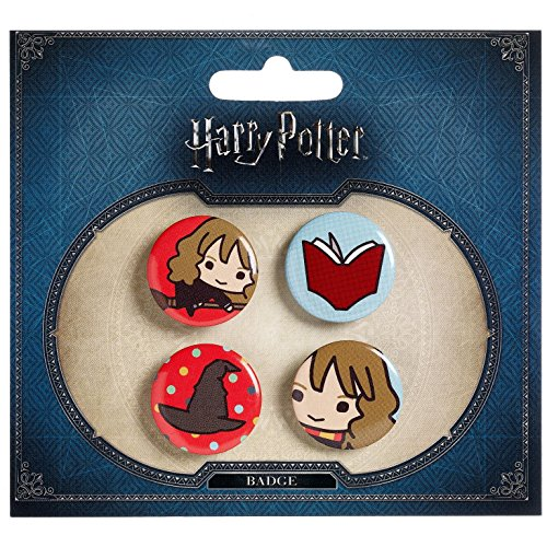 Harry Potter Button 4er Set Chibi Hermine Buch -
