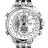 SunJas Orologio da Polso Uomo luenette Watch Sportivo Cinturino Acciaio Inossidabile Impermeabile Bianco