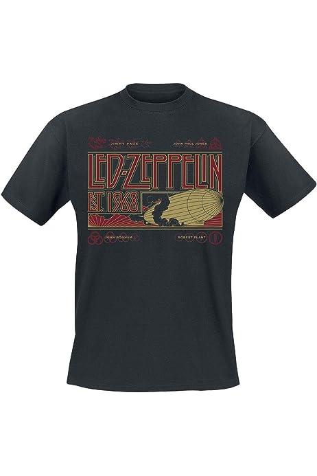 Led Zeppelin Zeppelin & Smoke Hombre Camiseta Negro, Regular: Amazon.es: Ropa y accesorios