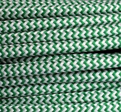 Textilkabel Stoffkabel grün - weiß , 3-adrig rund , 3x0,75 von Globe Warehouse bei Lampenhans.de