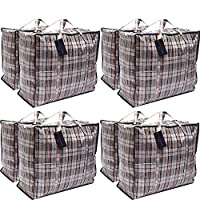 DECO EXPRESS Pack of 8 X Large STRONG Storage Laundry Shopping Bags - XL Moving Bags with Zipper & Handles Checkered - Reusable Store Zip Bag