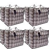 Paquet de 8 sacs à provisions pour la buanderie XX-Large STRONG - Sacs de déménagement XXL avec fermeture à glissière et poignées à carreaux - Sac de rangement réutilisable pour magasin (assorti)...