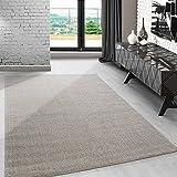 Modern kurzflor Teppich unifarben einfarbig design meliert Beige-Cream für...