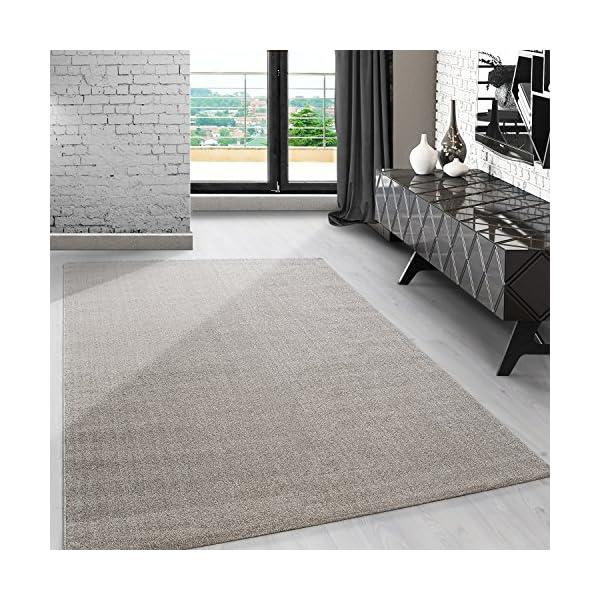 Modern kurzflor Teppich unifarben einfarbig design meliert Beige ...