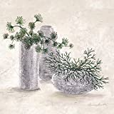 Leinwandbild, La Planta Verde, Stillleben mit Vasen und Blumen, Gemälde, blau, 55 x 55 cm von Eurographics
