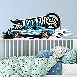 Bilderwelten Wandtattoo Hot Wheels Blue Fire, Sticker Wandtattoo Wandsticker Wandbild, Größe: 25cm x 75cm