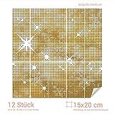 GRAZDesign 768099_15x20_60 Fliesenaufkleber Goldene Sterne für Deine Kacheln | Wand-Deko für Bad/Küchen-Fliesen (Fliesenmaß: 15x20cm (BxH)//Bild: 60x60cm (BxH))