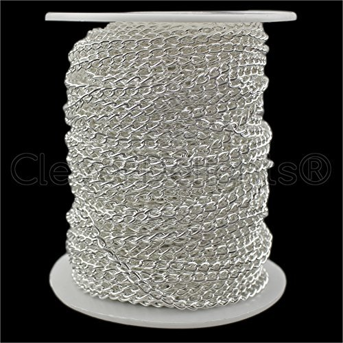 CleverDelights Curb Chain Spool - 3x5mm Link - Shiny Silver Color - 100 Feet - Bulk Jewelry Chain Roll by CleverDelights