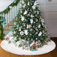 white tree skirts base 35inch christmas faux fur plush tree cover decoration xmas decorations 90cm