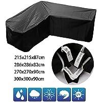 SWL-seller Waterproof L Shape Furniture Cover Outdoor Garden Rattan Corner Sofa Protective (215x215x87cm)