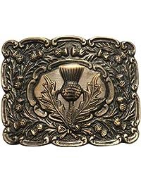 Scottich Kilt Belt Buckle Men's Matt Oval Design with Thistle Badge Antique Finish