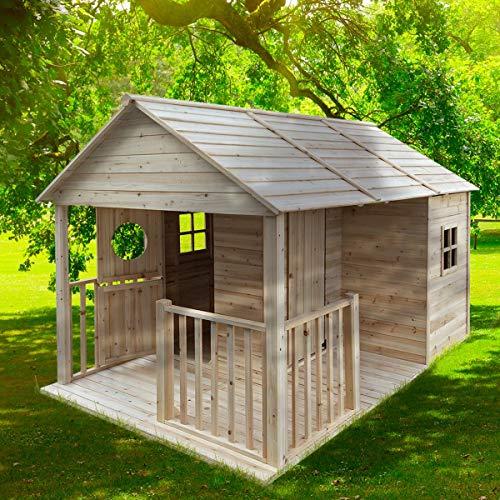 """BRAST Spielhaus\""""Cottage\"""" für Kinder 274x183x170cm Tannenholz 12mm Kinder-Haus Spielehaus Garten Holzhaus"""