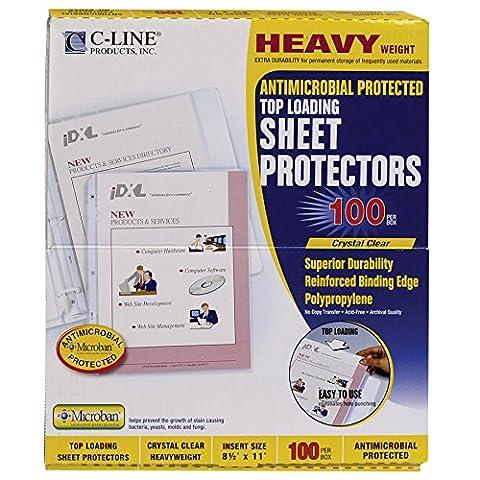 Line klar Toplader Schwergewicht Antimikrobielle Poly Tabelle Protektoren, 21,6x 27,9cm, 100Pro Box (62033)