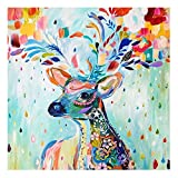 niceEshop(TM) 5D DIY Auspicious Colorful Deer Round Diamond Embroidery Painting Rhinestone Mosaic Room Decoration,Colorful