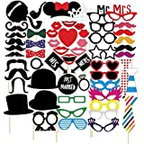 Veewon Photo Booth props 58piezas Funny DIY Kit para boda reuniones cumpleaños Photobooth para disfraces accesorios bigote en un palo, sombreros, gafas, Boca, Bowler, Bowties