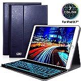 COO Coque Clavier pour iPad 9.7 Pouces AZERTY Français Bluetooth Clavier Etui Housse Auto Veille&Réveil 7 Couleurs rétro-éclairage pour Nouvel iPad 2018 iPad 2017 iPad Pro 9,7 iPad Air 2/1(Bleu)
