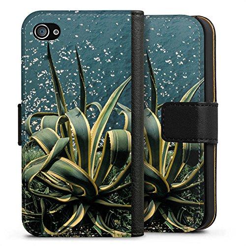 Apple iPhone X Silikon Hülle Case Schutzhülle Kaktus Ufer Blätter Sideflip Tasche schwarz