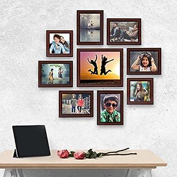 AJANTA ROYAL Synthetic Wood Individual Photo Frames - Set of 9(6-5x7-inch, 2-5x5-inch, 1-8x10-Inch, Brown)