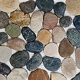 Mosaik Fliese Flußkiesel Steinkiesel schwarz Kiesel flach beige grau schwarz für BODEN WAND BAD WC DUSCHE KÜCHE FLIESENSPIEGEL THEKENVERKLEIDUNG BADEWANNENVERKLEIDUNG Mosaikmatte Mosaikplatte