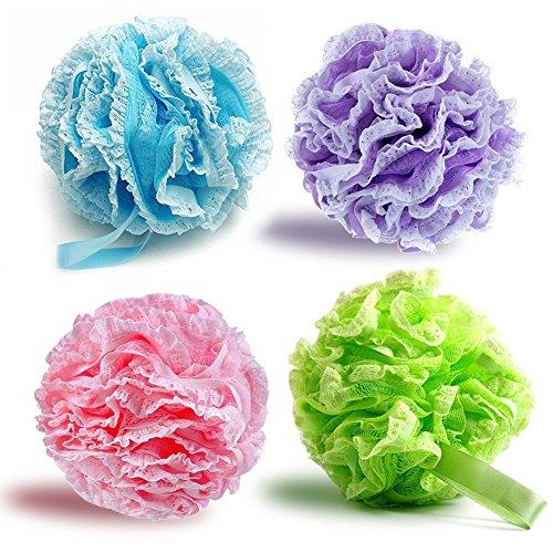 G2Plus - Pack de 2esponjas de baño suaves extradensas de flor de lis, esponja vegetal para exfoliar el cuerpo
