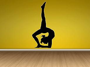 CVANU Vinyl Sticker Yoga Pose Sport Stretch Flexible Gym Emblem Poster Logo Meditation Sign Decal Wall Art Décor