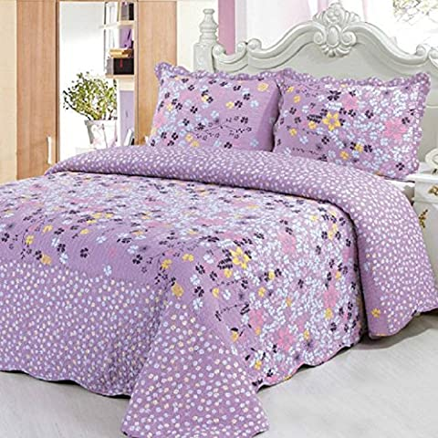 Beddingleer Childrens Girls Purple Flower COTTON 150 X 200CM Single Quilted Bedspread Patchwork Throws, Light Weight Kids Four