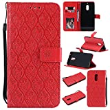 BONROY Nokia 6 Case, Nokia 6 Leather Wallet Case Embossing Pattern Design Leather Flip BookStyle Phone Cover Magnetic Folio Wallet Bag Case Cover for Nokia 6 - (Rattan flowers - red)